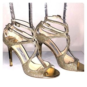 Jimmy Choo Lang Glittered Strappy